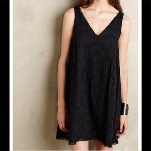 Anthropologie Maeve Black eyelet swing dress XS